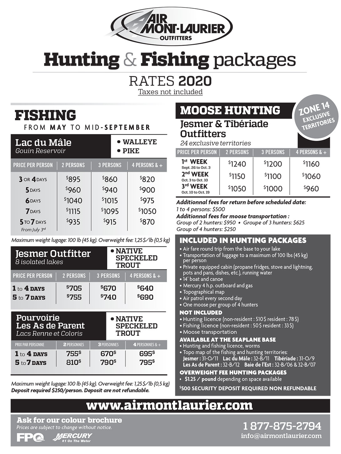 Hunting & Fishing packages - Rates-2020