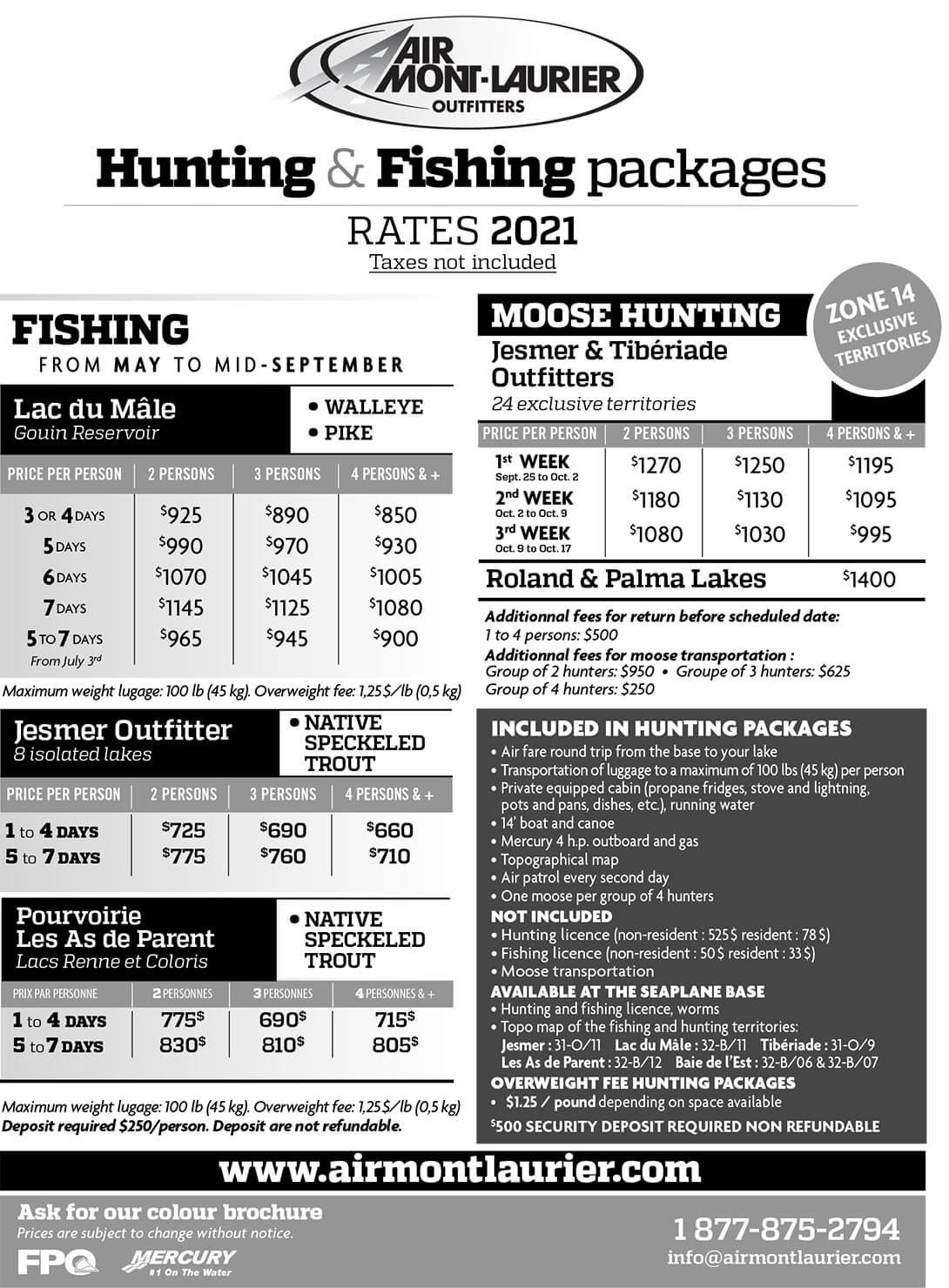 Hunting & Fishing packages - Rates-2021